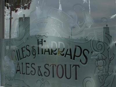 Acid etched glass- Royal oak window